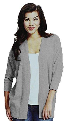 Leo & Nicole Womens 3/4 Sleeve Cardigan Sweater (Large, Granite Stone) ()