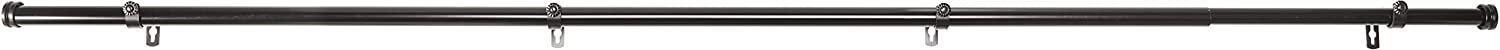 "Rod Desyne 1"" Bun Curtain Rod, 120-170"", Black"