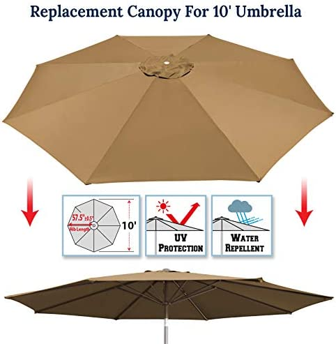 Umbrella Cover Canopy 10ft 8 Rib Patio Replacement Top Outdoor-tan