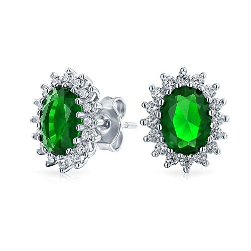 3 CT Oval Green Stud Earrings For Women Simulated Emerald CZ Halo Crown Cubic Zirconia 925 sterling Silver ()