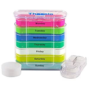 Pill Organizer Box Weekly Case with Pill Splitter Cutter - Holder - Large Travel Medication Reminder Daily Am PM, Day Night Compartments 7 day-Medicine Dispenser Twice, 3, 4 Times a Day