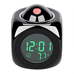Digital Projection Alarm Clock with LED Desk Clock LCD Display & Voice Broadcast Function, Temperature and Time (12H/24H) Displayed