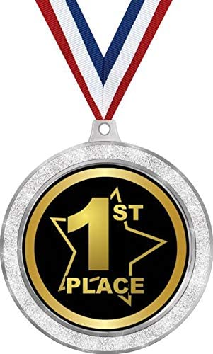"Amazon.com : 1st Place Medal, 2 1/2"" Silver Glitter First Place ..."