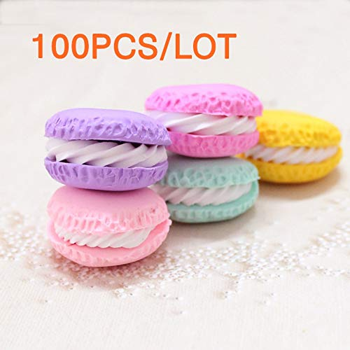 Round Cabochon Cream - ZAMTAC Wholesale 100PCS Colorful Clay Macaroons Kawaii Simulation Cream Macaron Round Cabochon Fake Food Deco Parts DIY - (Color: Mixed Color, Size: L)