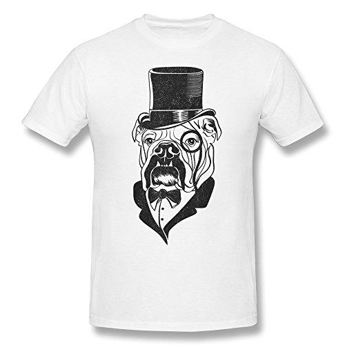 Yisw Men's Pug Dog T-Shirt XXL White O Neck Sport Clothing