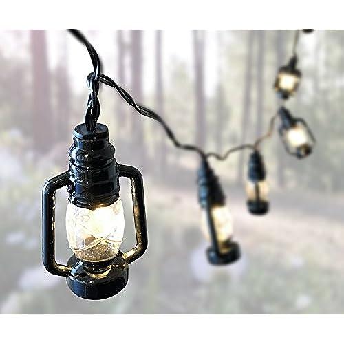 Lantern String Lights   Small Black Lantern LED Battery Operated Light  Strand   10 Mini Lanterns Per Cord   Lantern Lights   Party Light Strand    Set Of 4