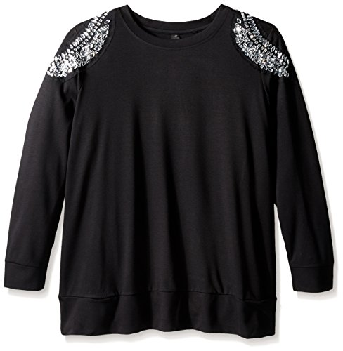 Melissa McCarthy Seven7 Women's Plus-Size Embellished Elbow Sleeve High Low, Charcoal Heather, 2X