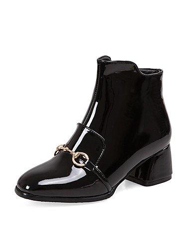 XZZ/ Damen-Stiefel-Kleid-Kunstleder-Blockabsatz-Modische Stiefel-Schwarz / Burgund black-us9 / eu40 / uk7 / cn41