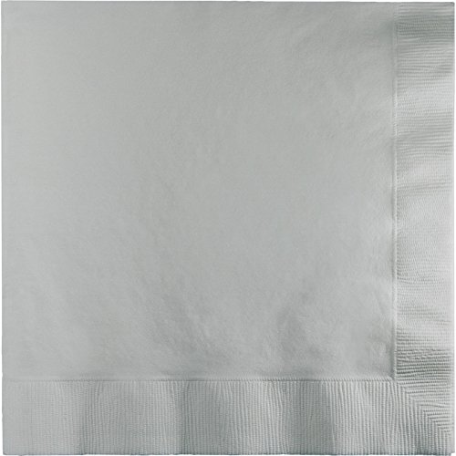 Creative Converting Touch of Color 2-Ply 50 Count Paper Lunch Napkins, Shimmering Silver ()