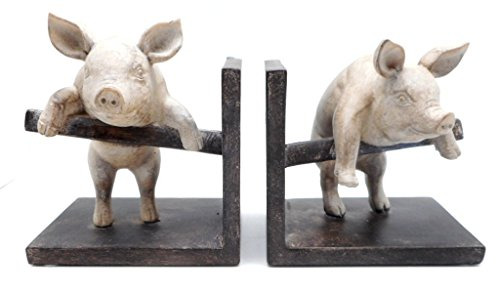 (DCI Pig Bookend Set of Two Pig Pair Climbing Fence Resin Decorative Bookends Vintage Farm Animals)