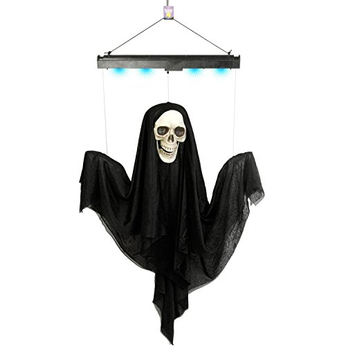 Hanging Black Reaper Prop (Halloween Haunters Animated 4 Foot Hanging Floating Scary Black Ghost Reaper Prop Decoration - Arms & Head Float Up & Down, Eerie Boos, Blue Lights - Battery Operated)