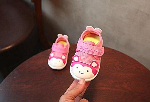 Prevently Cartoon-Muster Weiche Lederschuhe für Kleinkinder Baby Sohle Schuhe Turnschuhe Sneaker Kind Mädchen Jungen Cartoon Casual Lette Drucken Anti-Rutsch-Schuhe Rosa