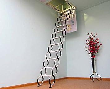 Acero Personalizada ático escalera ático escalera ático escalera de tijera de acero plegable y hasta: Amazon.es: Bricolaje y herramientas