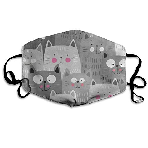 Dust Mask Gray Hipster Cat Kitten Fashion Anti-dust Reusable Cotton Comfy Breathable Safety Mouth Masks Half Face Mask for Women Man Running Cycling Outdoor