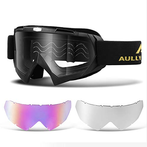 AULLY PARK Motorcycle Motocross Goggles ATV Racing Goggles Dirt Bike Mx Goggle Glasses with 3 Lens Kit Fit for Men Women Youth -