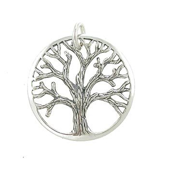 Amazon round open design textured tree of life pendant in round open design textured tree of life pendant in sterling silver for men or women aloadofball Image collections