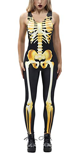 TUONROAD 3D Graphic Printed Scary Zombie Halloween Costumes Ideas Metallic Gold Yellow Bones Glow in The Dark Sleeveless Fancy Full Body Skeleton Jumpsuit Black and Bone Full Bodysuit -