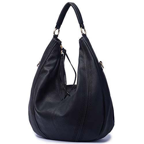 Mn&Sue Women Hobo Shoulder Bag Top Handle Satchel Large Fashion Handbag - Mother's Day Gift Purse (Black)