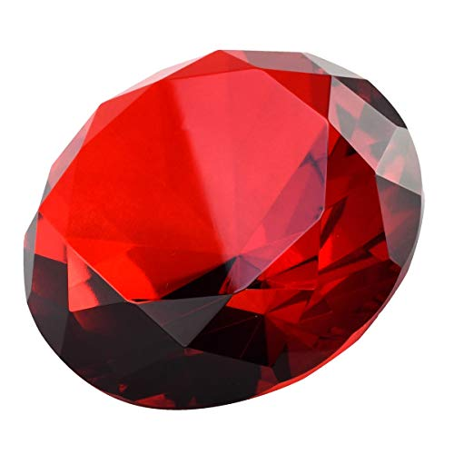 Red 100 mm Crystal Diamond Jewel Giant Paperweight ()
