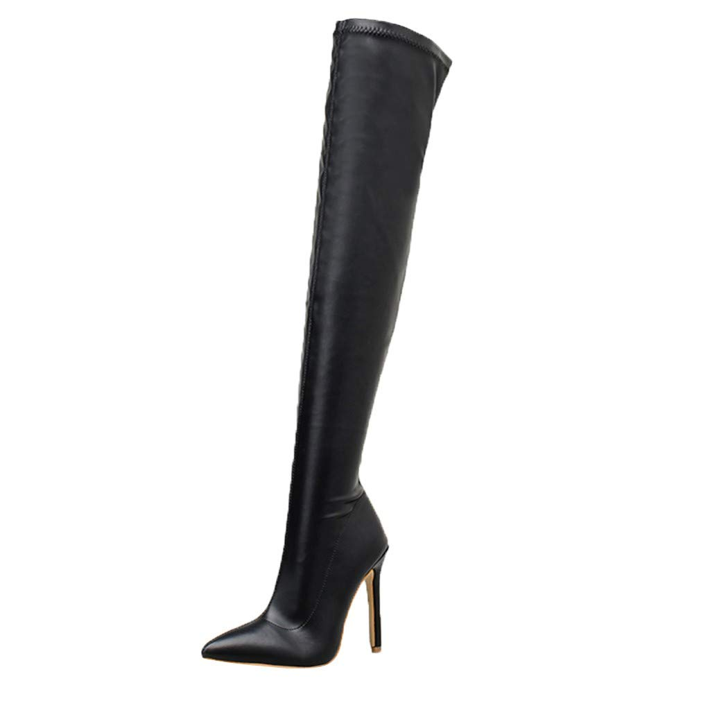 Fheaven Women's Over-The-Knee Boots Winter Boots Shoes Pointed Toe Nightclub Knee-High Boots High Heel Black by Fheaven-shoes