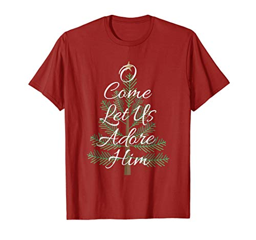 Mens O Come Let Us Adore Him Shirt Christmas Bible Verse Tee 2XL Cranberry