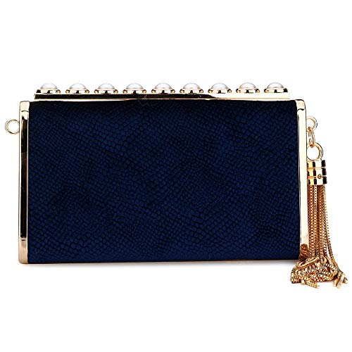 Evening Bags Formal Prom Velvet Blue Wedding Clutch Party Purs IBELLA Women's Dark qt5wxYYE