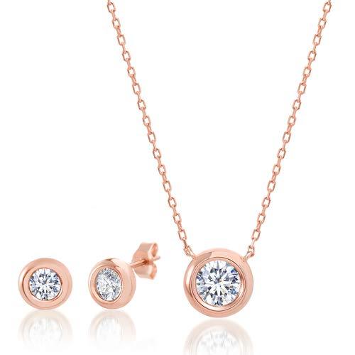 LESA MICHELE Round Cubic Zirconia Bezel Set Stud Earrings and Pendant Set on 18