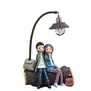 VOSAREA Mini Resin Couple Lamp Living Room Bedroom Decorations Crafts Gifts for Home Lovers Party Valentine's Day (D)