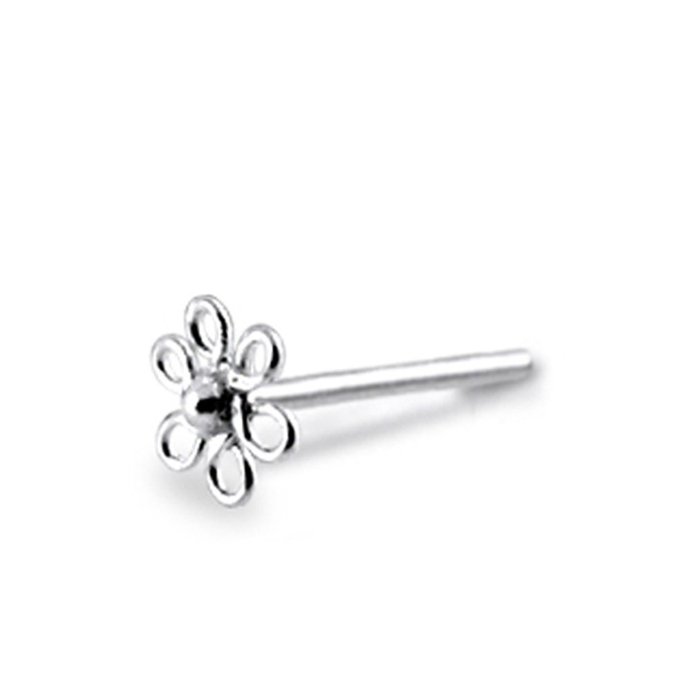 20 Pieces Plain Filigree Flower 22 Gauge Sterling Silver Straight Nose Pin