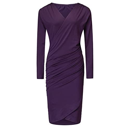 Cheap Ellie's Womens Long Sleeve V Neck Dress Elegant Bodycon Ruched Party Cocktail Dresses
