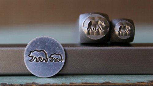 Brand New 2 Stamp (6mm and 4mm) Mama and Baby Grizzly Bear Metal Punch Design Stamp Set - Supply Guy - CH-142174