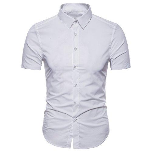 Mens Business Short Sleeve Dress Shirts Slim Fit Button Down Shirts
