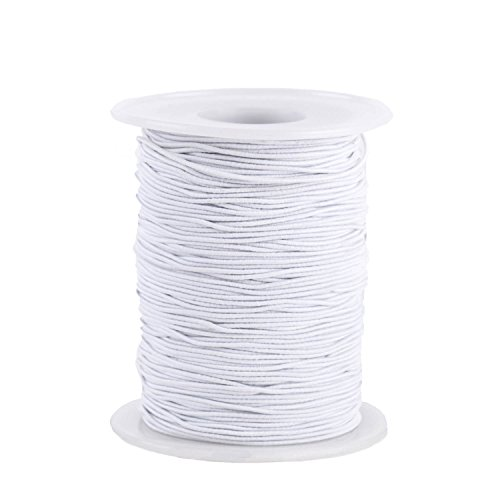 Senkary 0.8 mm Elastic String Cord Elastic Thread Beading String Cord for Jewelry Making Bracelets Beading, 100 Meters, White
