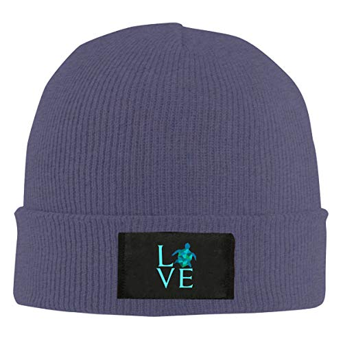 Love Sea Turtles Unisex Beanie Cap,Winter Warm Knit Skull Hat Navy
