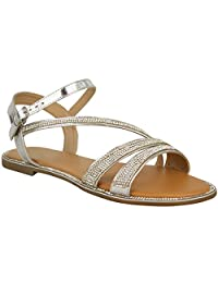 Fashion Thirsty Ladies Womens Flat Strappy Peep Toe Diamante Ankle Strap Summer Sandals Size USA