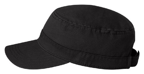 Fidel Cap, Black, Adjustable (Bio Washed Twill Cap)