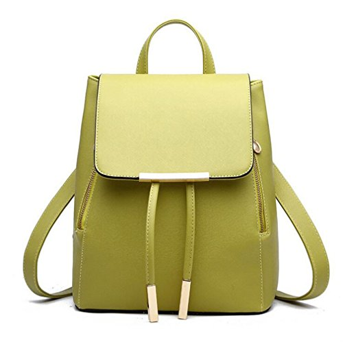 Women Backpack PU Leather School Bags For Teenagers Girls Top-Handle Backpacks Herald Fashion green 28x24x14cm (Leather Sierra Backpack)