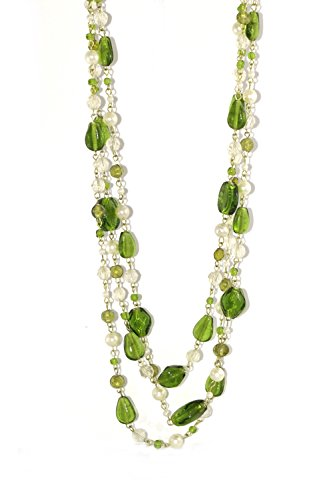 ZAD Multi-Strand Faux-Pearl and Glass Bead Layered Necklace, 18