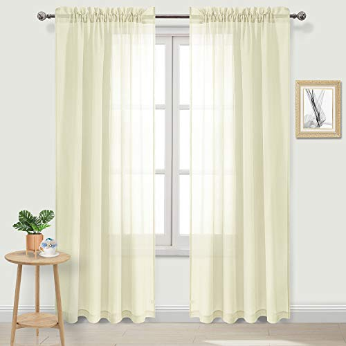 DWCN Sheer Curtains Pale Yellow Linen Rod Pocket Window Curtain Panels Living Room Curtains,Set of 2, 52 x 84 inches Long (Drapes Pale Yellow Curtains And)