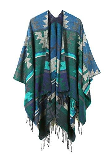 Loose Mexican Wool Poncho Shawl Cloaks Cape Wrap Kimono Cardigans (Asymmetrical Wool Sweater)