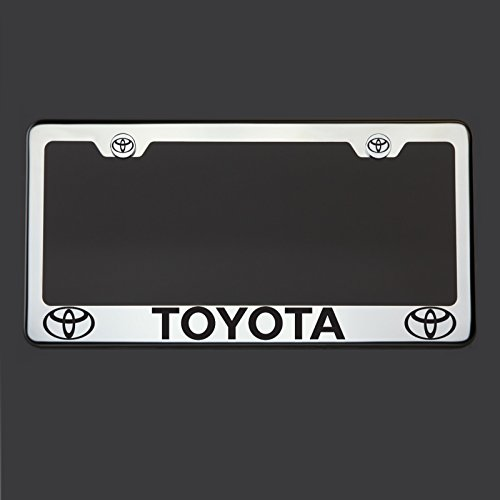 Black Lettering Laser Engraved Mirror Polish Stainless Steel Toyota License Plate Frame Holder Front Or Rear Bracket Steel Chrome Screw Cap