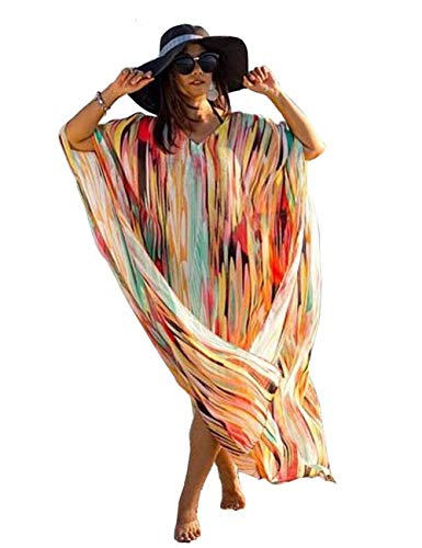 (Women Long Maxi Kimono Bathwear Bikini Swimsuit Sexy Colorful Stripes Kaftan Chiffon Beach Dress Robe Gown (290) )