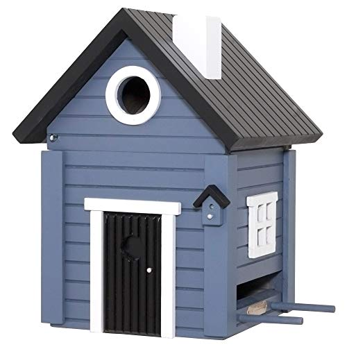 WILDLIFEGARDEN Multiholk Blue Cottage Birdhouse, Switches from Nest-Box to Feeder, Weather-Resistant Wood, Multiple Mounting Options, Designed in Sweden