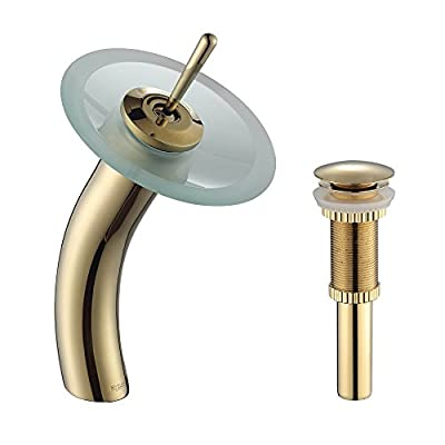 Kraus KGW-1700-PU-10G-FR Single Lever Vessel Glass Waterfall Bathroom Faucet Gold with Frosted Glass Disk and Matching Pop Up Drain