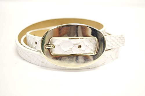 STREETS AHEAD Womens Skinny Textured Leather Hip Belt Sz L White 230716E (Belt Skinny Ahead Streets)
