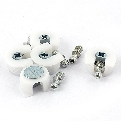 5pcs eDealMax armario metálico Peg Espárragos plástico Rejillas tornillo pernos blancos