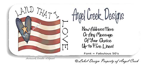 60 Country Primitive USA Flag LAND THAT I LOVE Personalized Return Address Labels ()