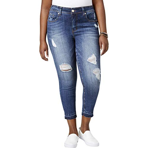 Melissa McCarthy Seven7 Women's Plus Size Pencil Cut Jean with Release Hem, Dynomite, 22W