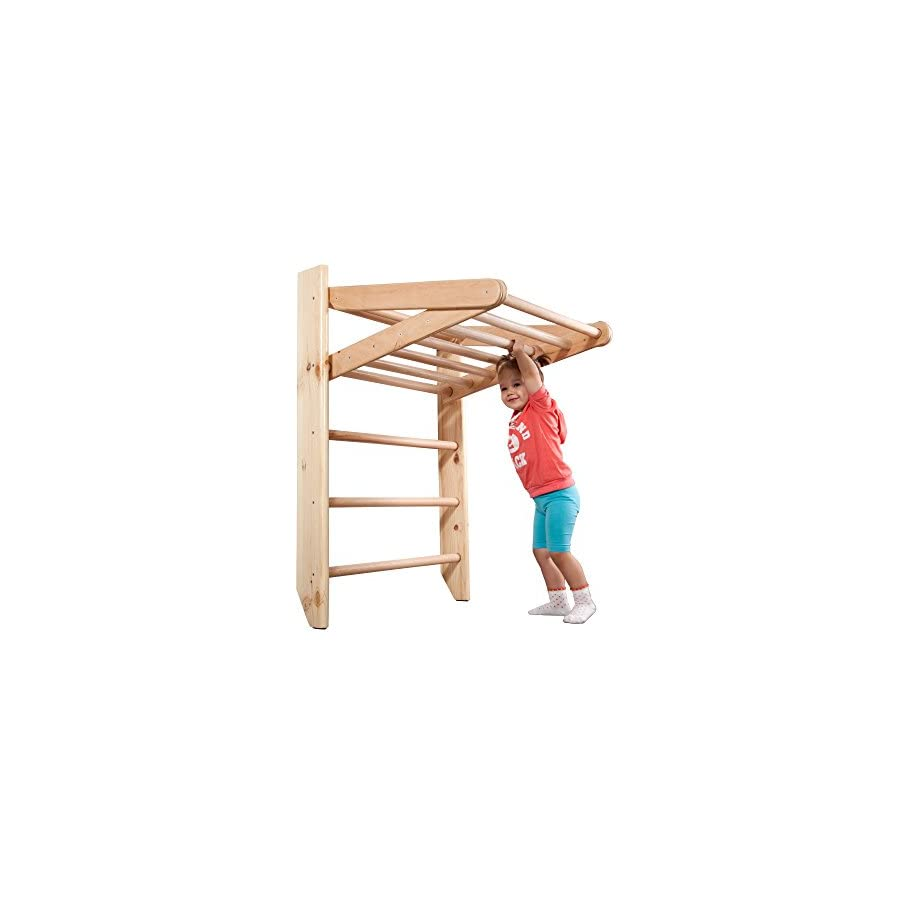 """SportBaby Wooden Swedish Ladder, Wall Bars for Kids, Wood Stall Bar Kinder 3 220 Certificate of Safe USE Home Gym Gymnastic, Climbing Kids, Indoor Children Playground 87"""" x31.5"""