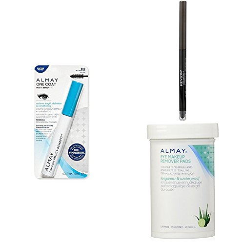 Remover Colorstay Revlon Makeup (Revlon & Almay Perfect Eye Collection - Almay One Coat Multi-Benefit Mascara, Revlon ColorStay Eyeliner & Almay Longwear Eye Makeup Remover Pads - Black Brown)